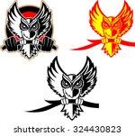 hunting owl logo. owl holding... | Shutterstock . vector #324430823