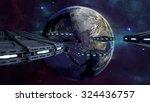 ufos flying to enlightened city ... | Shutterstock . vector #324436757