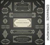 set of beige decorative vintage ... | Shutterstock .eps vector #324444623