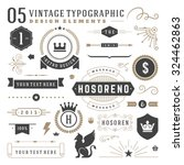 Retro vintage typographic design elements. Arrows, labels, ribbons, logos symbols, crowns, calligraphy swirls, ornaments and other.  | Shutterstock vector #324462863