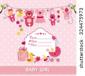 new born baby girl invitation... | Shutterstock .eps vector #324475973