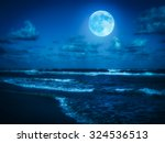 Beach At Midnight With A Full...