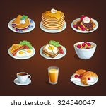 set of food for breakfast... | Shutterstock .eps vector #324540047
