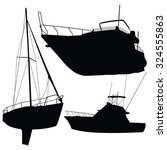 nice black set of boats on... | Shutterstock .eps vector #324555863