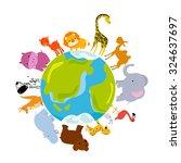 animals and globe   Shutterstock .eps vector #324637697