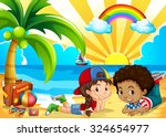 children having fun on the... | Shutterstock .eps vector #324654977