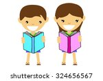boy and girl holding a book   | Shutterstock .eps vector #324656567