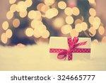 Christmas Gift Box On White...