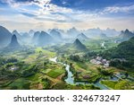 Small photo of Landscape of Guilin, Li River and Karst mountains. Located near Yangshuo County, Guilin City, Guangxi Province, China.