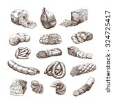 meat products set of hand drawn ... | Shutterstock . vector #324725417