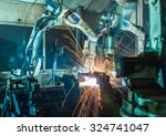 team robot welding movement... | Shutterstock . vector #324741047