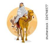 arabian bedouin riding a camel  ... | Shutterstock .eps vector #324748577