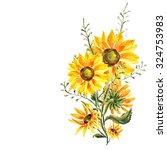 bunch of sunflowers  watercolor | Shutterstock . vector #324753983