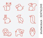 animal icons  thin line style ... | Shutterstock .eps vector #324761243