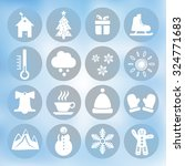 Winter Icons Set On Blue...
