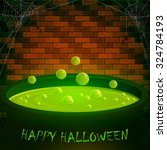 halloween cauldron with green... | Shutterstock .eps vector #324784193