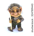 Troll With Cane Figurine On A...