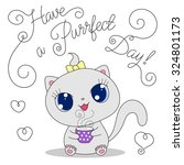 cute cartoon cat with cup of... | Shutterstock .eps vector #324801173