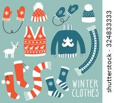 Vector Set Of Winter Clothes ...