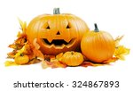 Halloween Pumpkins With Leaves