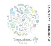 set of baby shower design... | Shutterstock .eps vector #324876497