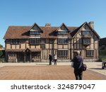 Small photo of STRATFORD UPON AVON, UK - SEPTEMBER 26, 2015: Tourists in front of William Shakespeare birthplace