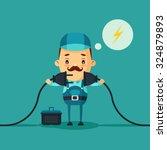 cute cartoon electrician... | Shutterstock .eps vector #324879893