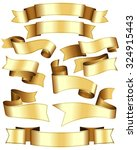gold ribbon collection. ten... | Shutterstock .eps vector #324915443
