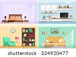 Set of colorful vector interior design house rooms with furniture icons: living room, bedroom. Flat style vector illustration. | Shutterstock vector #324920477