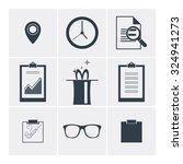 set of flat vector icons  clock ... | Shutterstock .eps vector #324941273