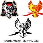 hunting owl logo. owl holding... | Shutterstock .eps vector #324947933