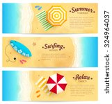set of vector summer travel... | Shutterstock .eps vector #324964037