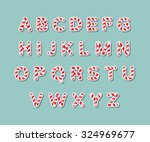 Alphabet candy cane vector illustration