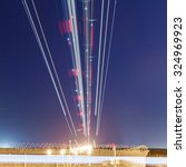 lights of aircraft on the glide ... | Shutterstock . vector #324969923
