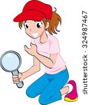 young girl brown hair with... | Shutterstock .eps vector #324987467