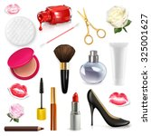 women cosmetics and accessories ... | Shutterstock .eps vector #325001627