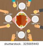 people eating turkey  table ... | Shutterstock .eps vector #325005443