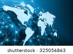 world map on a technological... | Shutterstock . vector #325056863