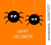 two hanging spider insect... | Shutterstock .eps vector #325057277