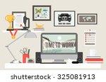 workspace in room with desk... | Shutterstock . vector #325081913