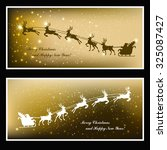 christmas cards with deer and... | Shutterstock .eps vector #325087427
