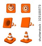 traffic cones vector icon game | Shutterstock .eps vector #325100573