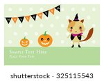 kitten halloween greeting card | Shutterstock .eps vector #325115543