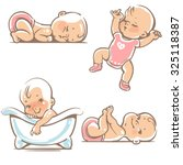 Set  of cute baby girls.  0-12 months. Various poses. First year activities. Sleeping positions, on stomach, on back, legs in hands.  Swimming in bath. Vector Illustration isolated on white background | Shutterstock vector #325118387