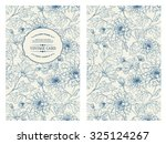 Vintage card with flowers on background. Book cover with flower texture. Blue lines on white background. Vector illustration. | Shutterstock vector #325124267