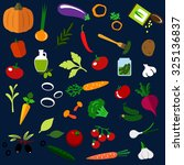 healthy vegetables flat icons... | Shutterstock .eps vector #325136837