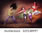 young woman at fitness exercise ... | Shutterstock . vector #325138997