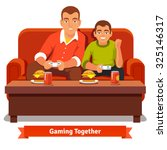 father and son playing video... | Shutterstock .eps vector #325146317