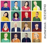 people diversity faces human... | Shutterstock . vector #325158743
