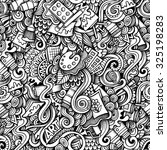 cartoon hand drawn doodles on... | Shutterstock .eps vector #325198283